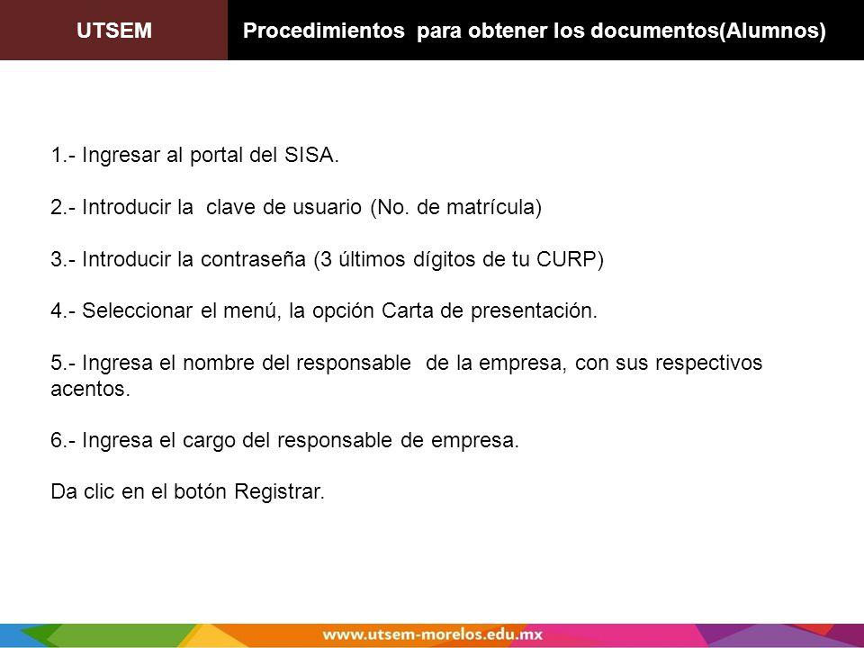 UTSEM Procedimientos para obtener los documentos(Alumnos)