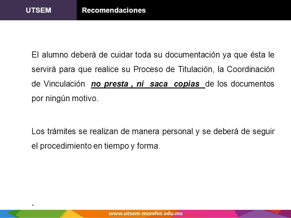 UTSEM Recomendaciones.
