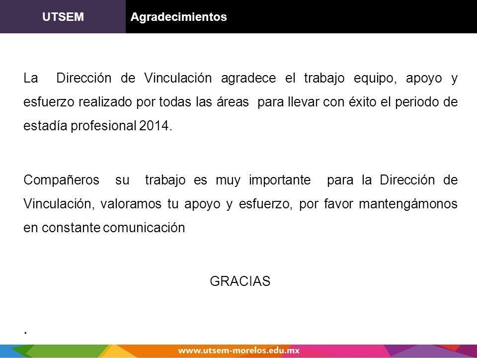 UTSEM Agradecimientos.