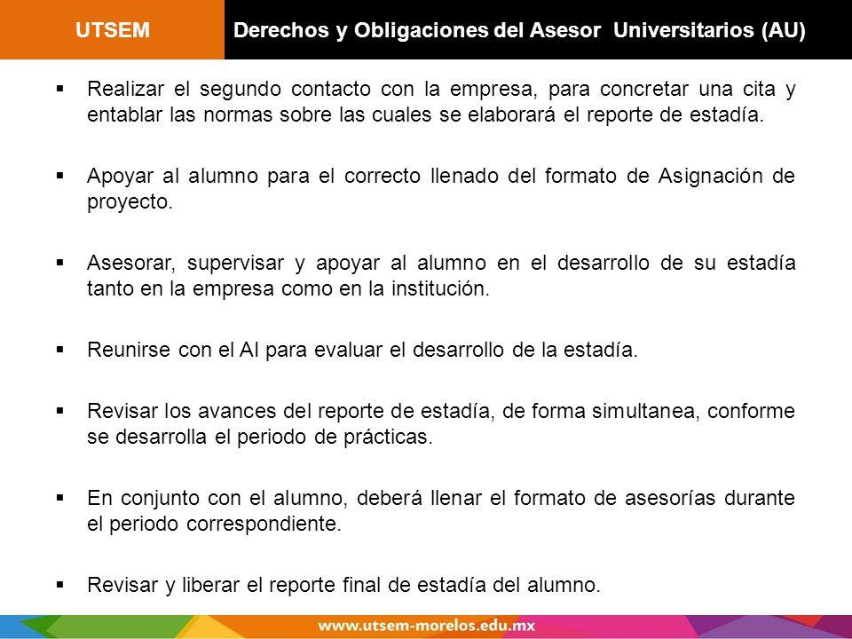 UTSEM Derechos y Obligaciones del Asesor Universitarios (AU)