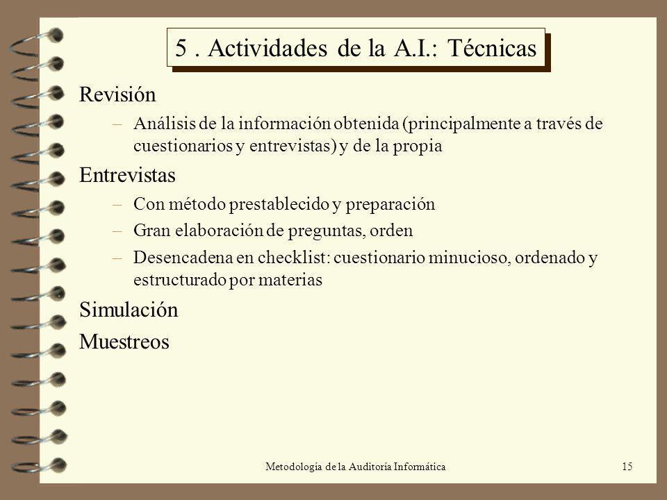 5 . Actividades de la A.I.: Técnicas