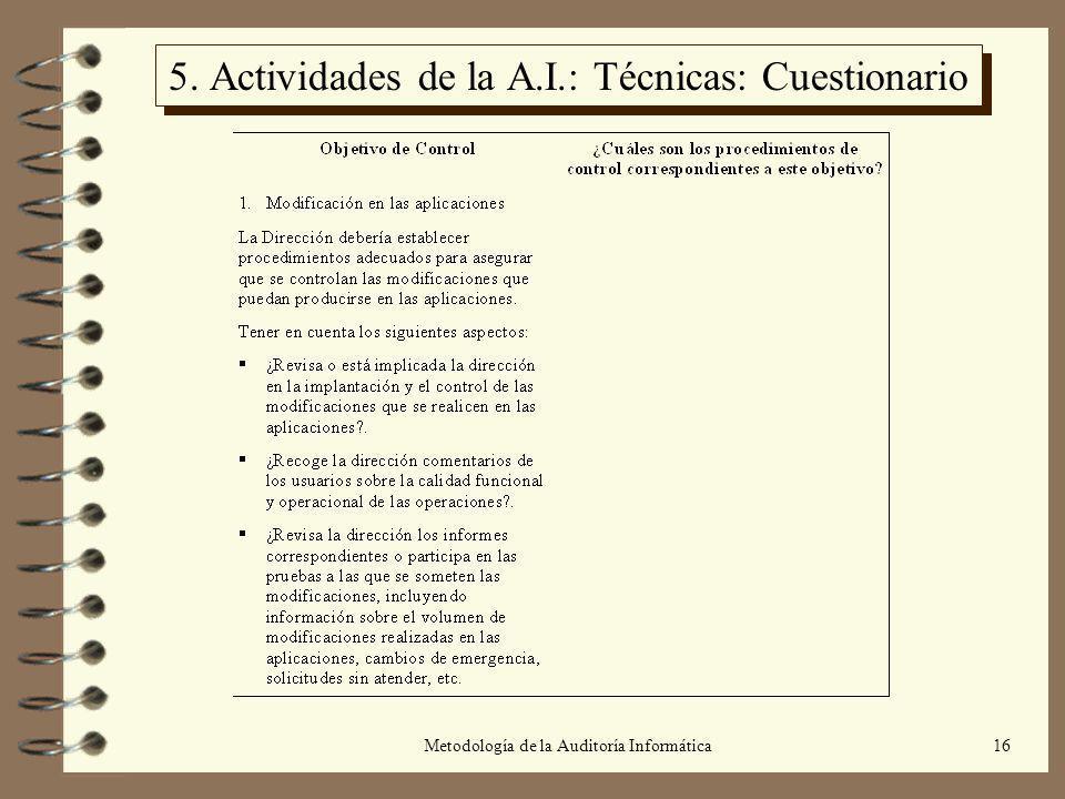 5. Actividades de la A.I.: Técnicas: Cuestionario