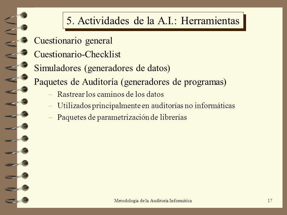 5. Actividades de la A.I.: Herramientas
