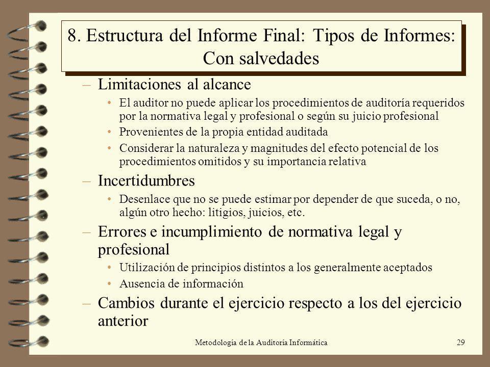 8. Estructura del Informe Final: Tipos de Informes: Con salvedades
