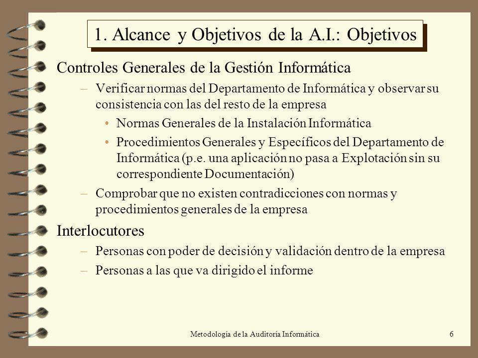 1. Alcance y Objetivos de la A.I.: Objetivos