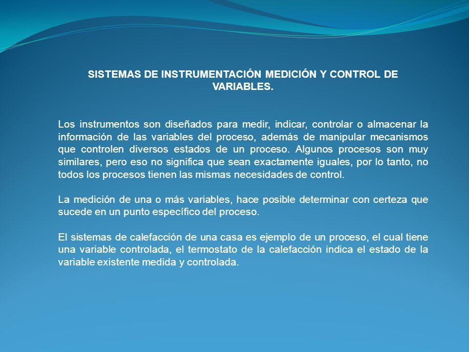 SISTEMAS DE INSTRUMENTACIÓN MEDICIÓN Y CONTROL DE VARIABLES.