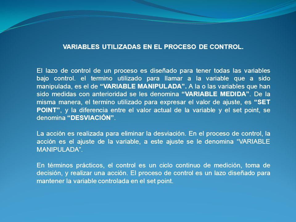 VARIABLES UTILIZADAS EN EL PROCESO DE CONTROL.