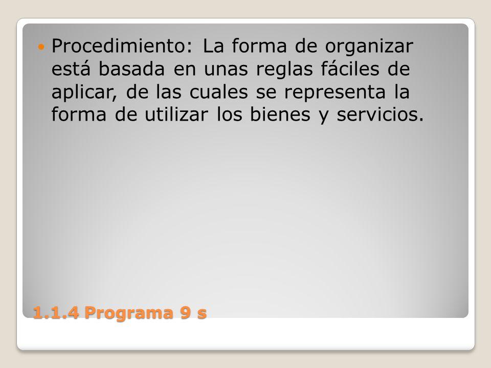 Procedimiento: La forma de organizar está basada en unas reglas fáciles de aplicar, de las cuales se representa la forma de utilizar los bienes y servicios.