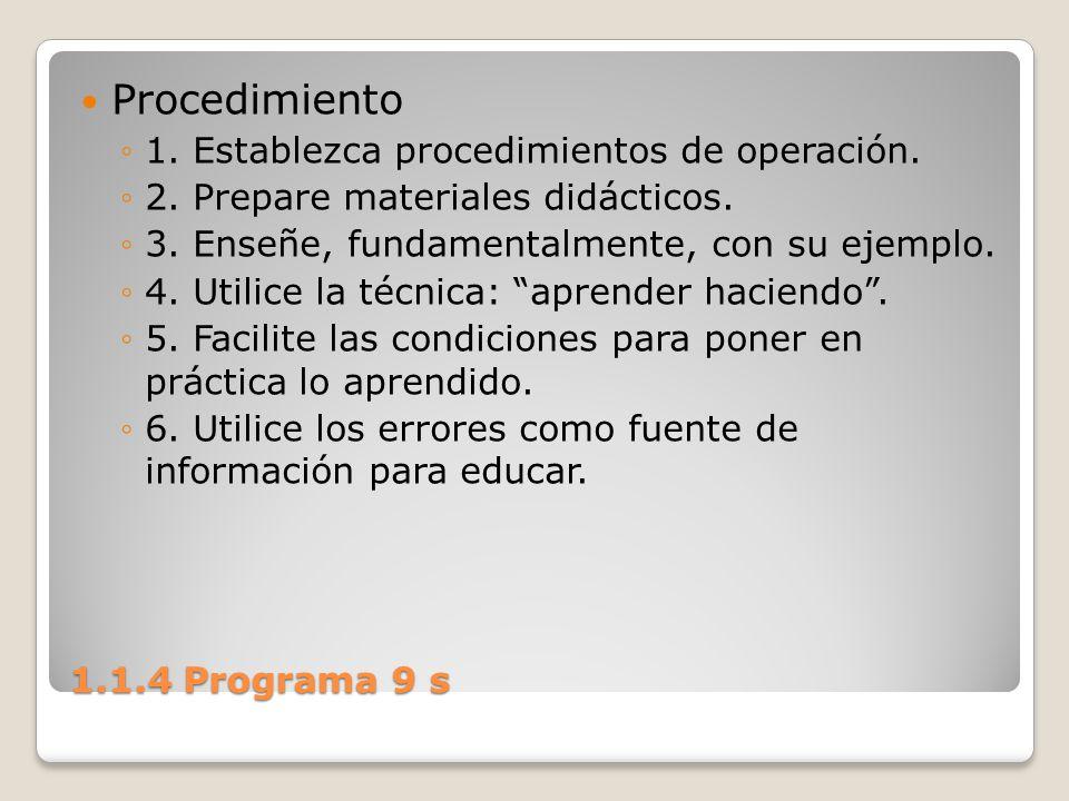 Procedimiento 1. Establezca procedimientos de operación.