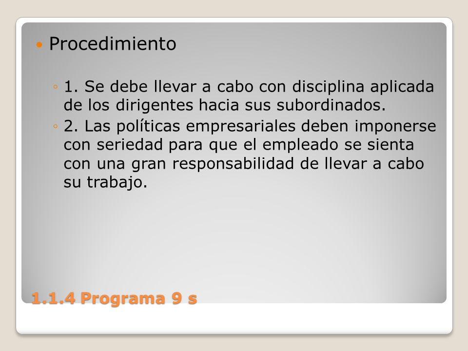 Procedimiento 1. Se debe llevar a cabo con disciplina aplicada de los dirigentes hacia sus subordinados.