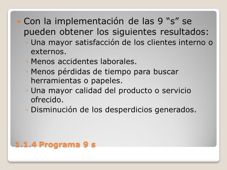Con la implementación de las 9 s se pueden obtener los siguientes resultados: