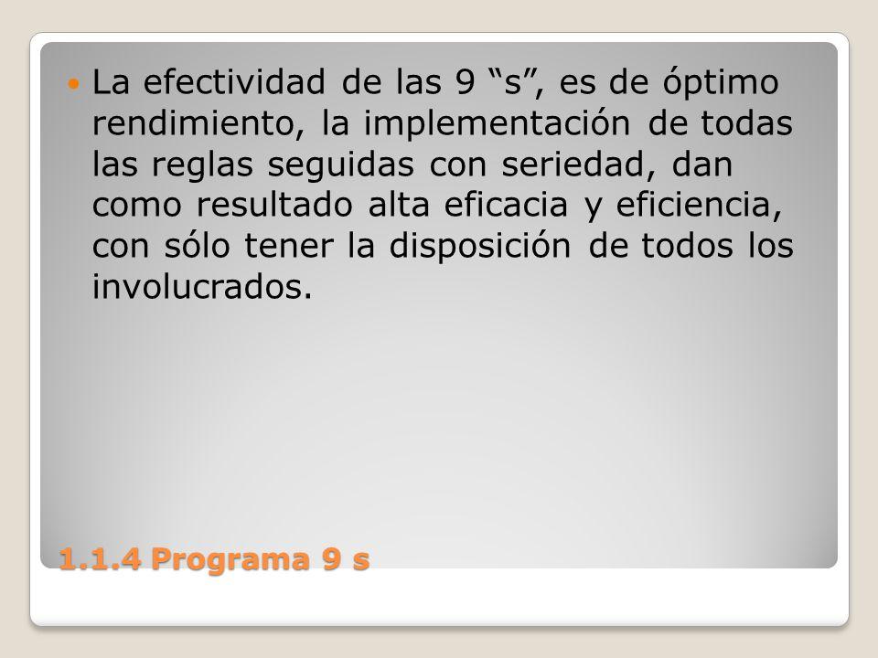 La efectividad de las 9 s , es de óptimo rendimiento, la implementación de todas las reglas seguidas con seriedad, dan como resultado alta eficacia y eficiencia, con sólo tener la disposición de todos los involucrados.
