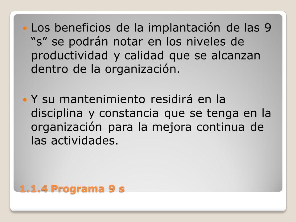 Los beneficios de la implantación de las 9 s se podrán notar en los niveles de productividad y calidad que se alcanzan dentro de la organización.