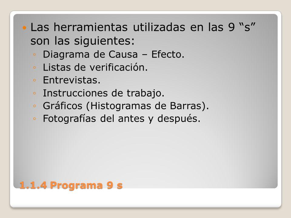 Las herramientas utilizadas en las 9 s son las siguientes: