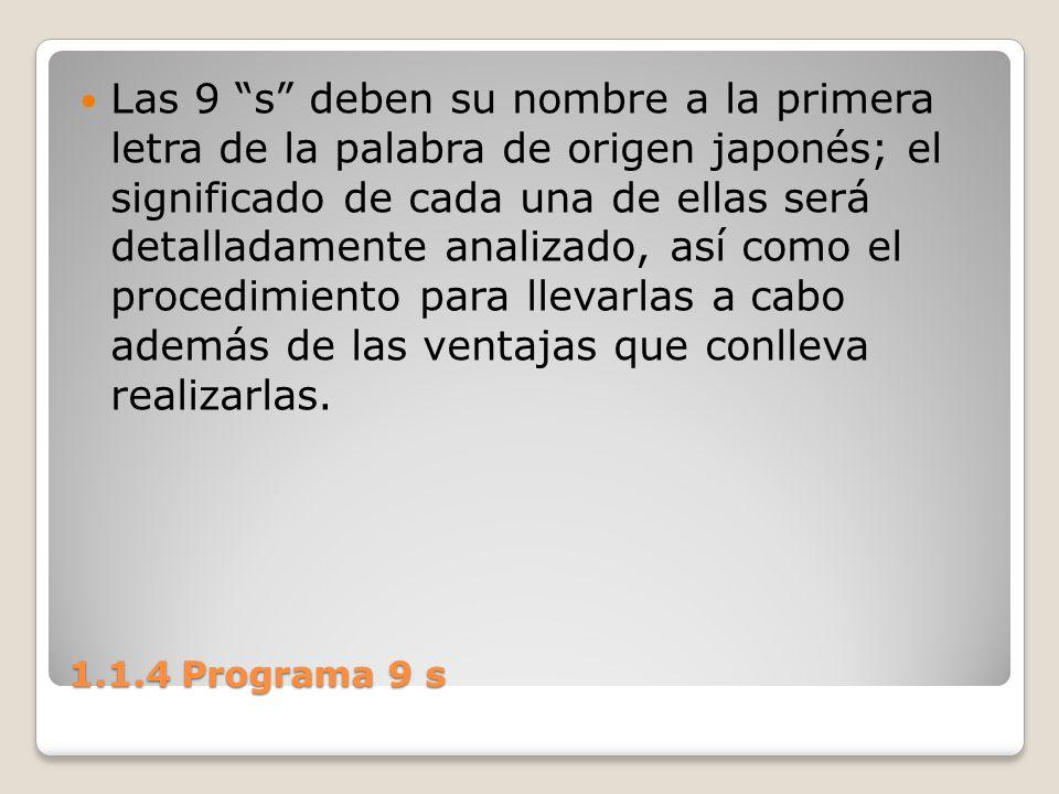 Las 9 s deben su nombre a la primera letra de la palabra de origen japonés; el significado de cada una de ellas será detalladamente analizado, así como el procedimiento para llevarlas a cabo además de las ventajas que conlleva realizarlas.