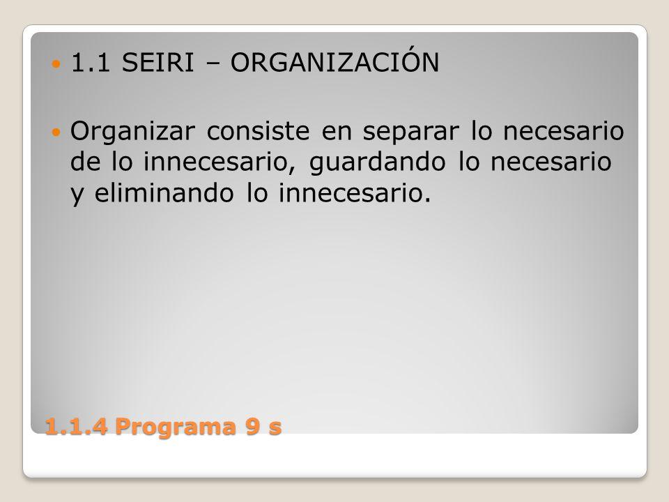 1.1 SEIRI – ORGANIZACIÓN Organizar consiste en separar lo necesario de lo innecesario, guardando lo necesario y eliminando lo innecesario.