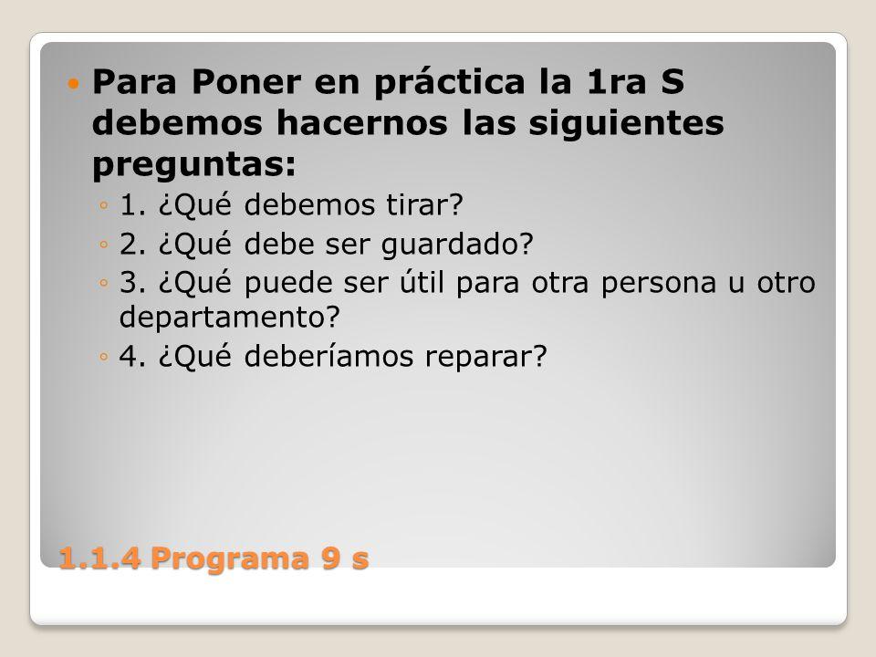 Para Poner en práctica la 1ra S debemos hacernos las siguientes preguntas: