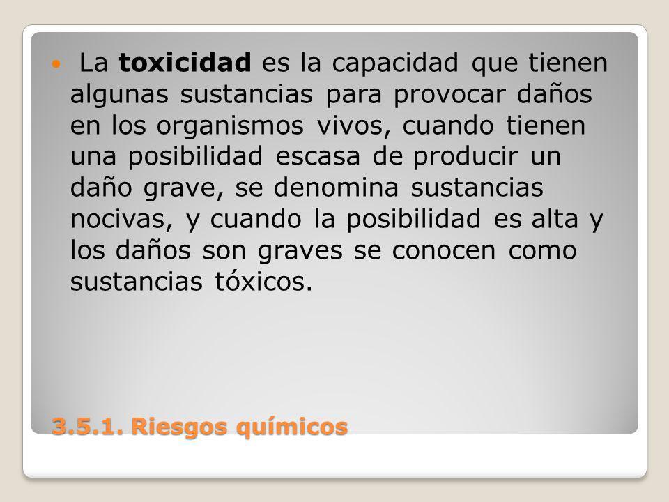 La toxicidad es la capacidad que tienen algunas sustancias para provocar daños en los organismos vivos, cuando tienen una posibilidad escasa de producir un daño grave, se denomina sustancias nocivas, y cuando la posibilidad es alta y los daños son graves se conocen como sustancias tóxicos.