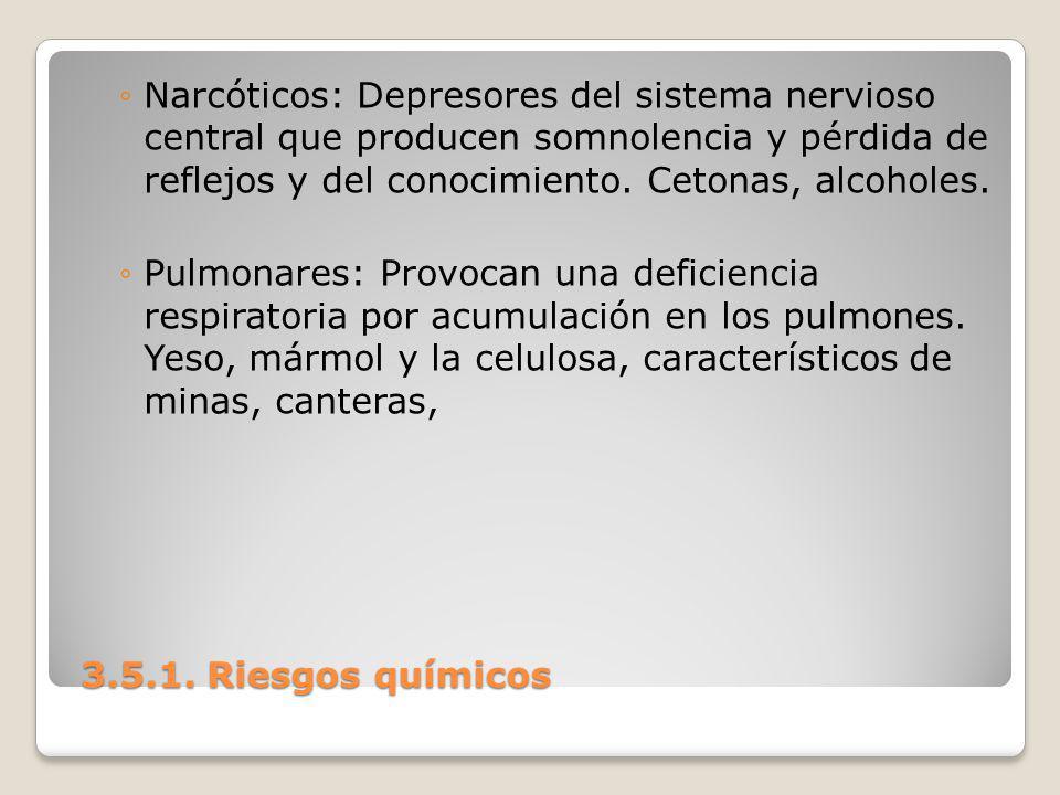 Narcóticos: Depresores del sistema nervioso central que producen somnolencia y pérdida de reflejos y del conocimiento. Cetonas, alcoholes.