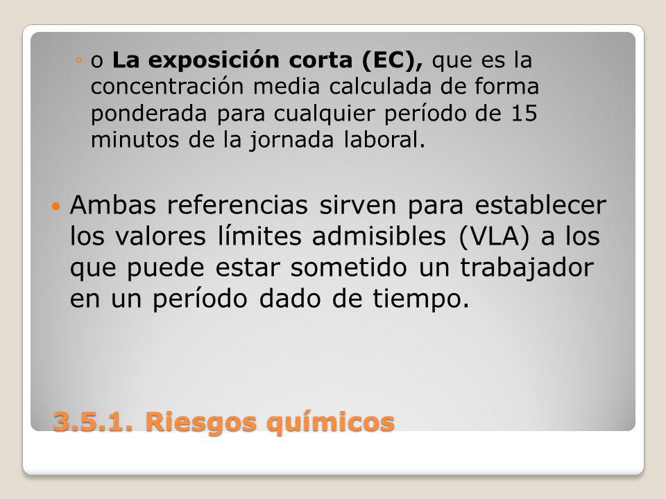 o La exposición corta (EC), que es la concentración media calculada de forma ponderada para cualquier período de 15 minutos de la jornada laboral.