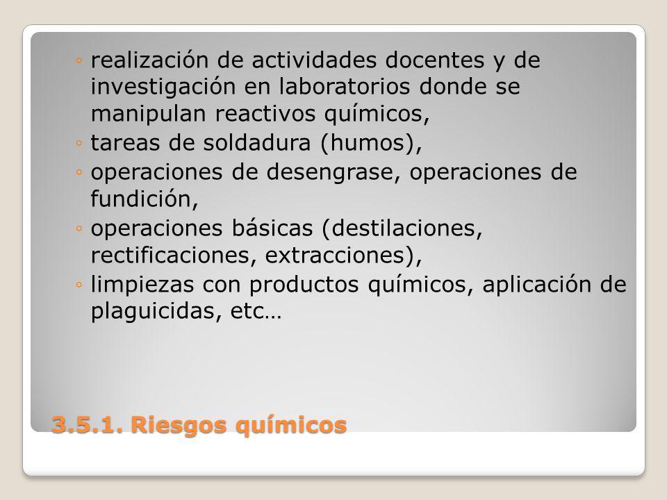 realización de actividades docentes y de investigación en laboratorios donde se manipulan reactivos químicos,