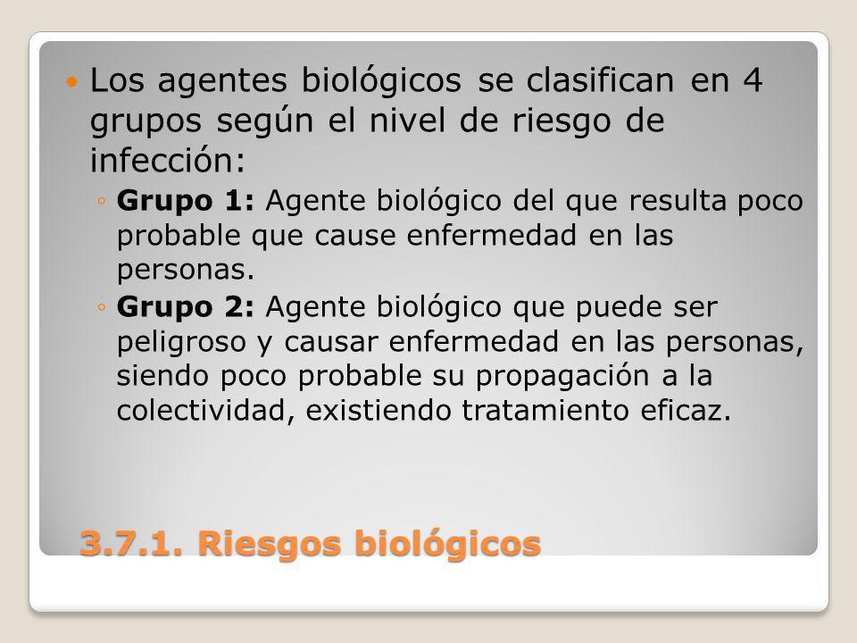 Los agentes biológicos se clasifican en 4 grupos según el nivel de riesgo de infección: