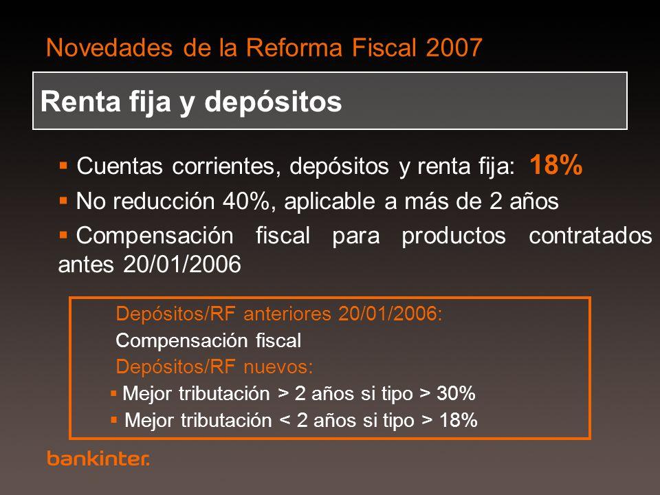 Renta fija y depósitos Cuentas corrientes, depósitos y renta fija: 18%