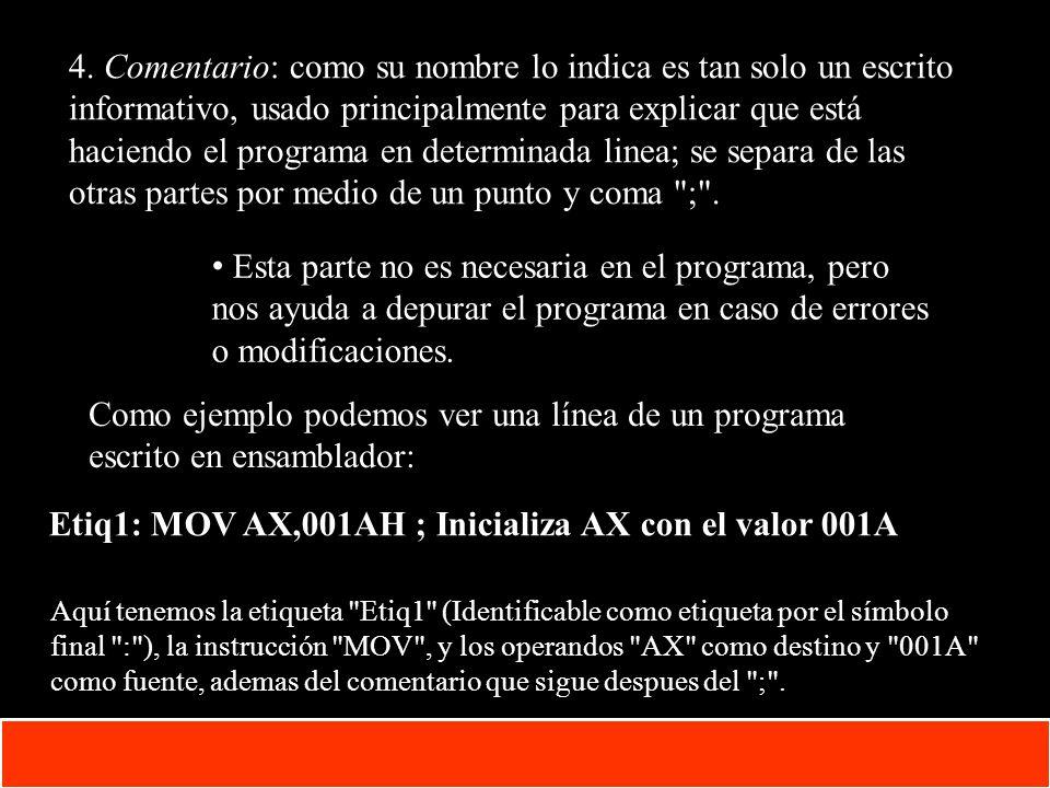 Etiq1: MOV AX,001AH ; Inicializa AX con el valor 001A