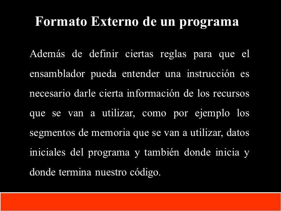 Formato Externo de un programa