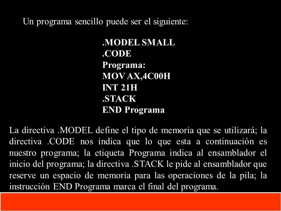 Un programa sencillo puede ser el siguiente:
