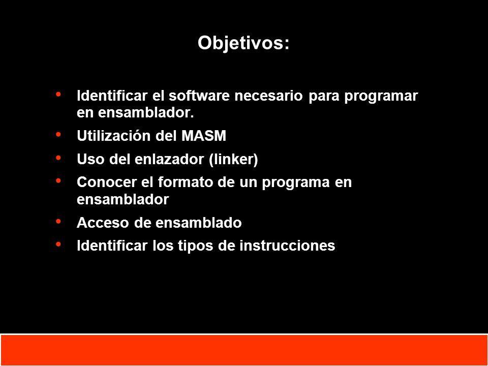 Objetivos: Identificar el software necesario para programar en ensamblador. Utilización del MASM. Uso del enlazador (linker)