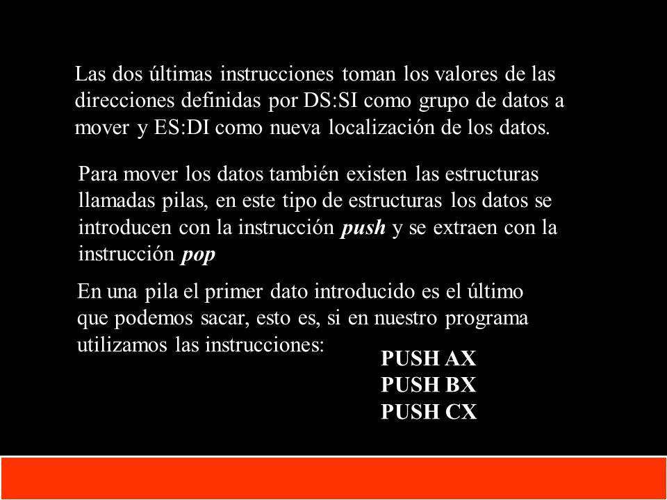 Las dos últimas instrucciones toman los valores de las direcciones definidas por DS:SI como grupo de datos a mover y ES:DI como nueva localización de los datos.