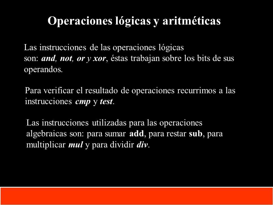 Operaciones lógicas y aritméticas