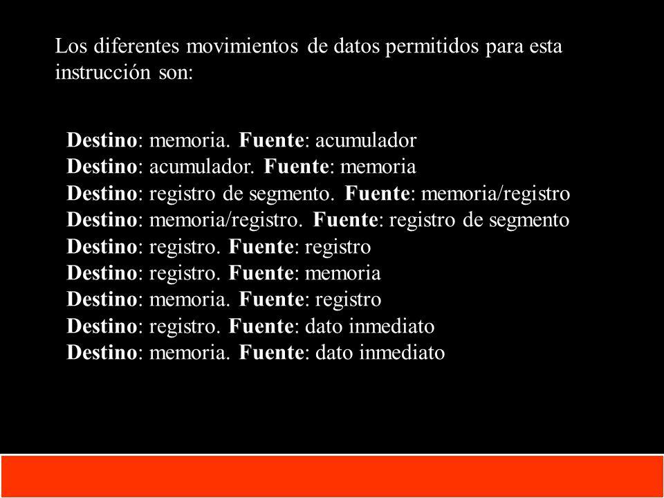 Los diferentes movimientos de datos permitidos para esta instrucción son: