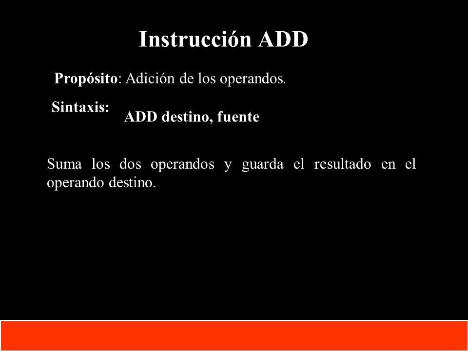 Instrucción ADD Propósito: Adición de los operandos. Sintaxis:
