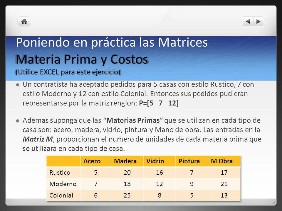 Poniendo en práctica las Matrices Materia Prima y Costos (Utilice EXCEL para éste ejercicio)