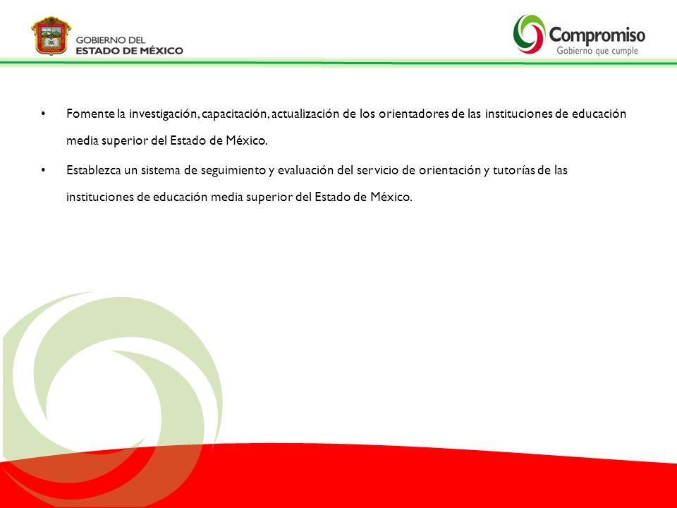Fomente la investigación, capacitación, actualización de los orientadores de las instituciones de educación media superior del Estado de México.