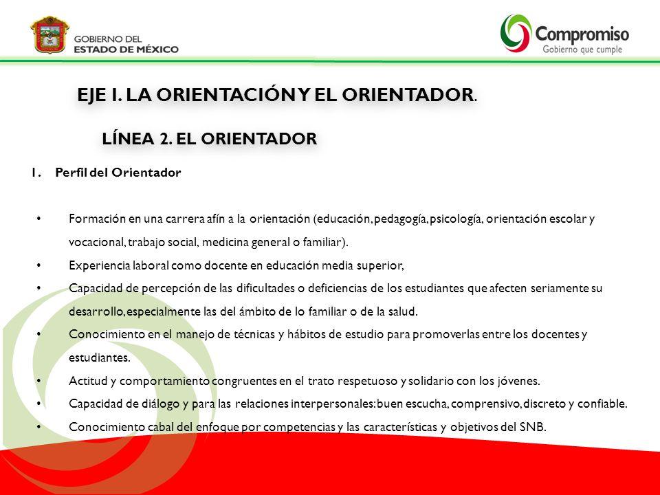 LÍNEA 2. EL ORIENTADOR EJE I. LA ORIENTACIÓN Y EL ORIENTADOR.