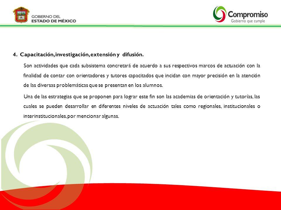 4. Capacitación, investigación, extensión y difusión.