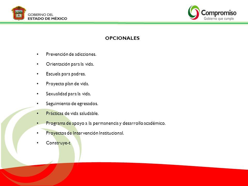 OPCIONALES Prevención de adicciones. Orientación para la vida. Escuela para padres. Proyecto plan de vida.