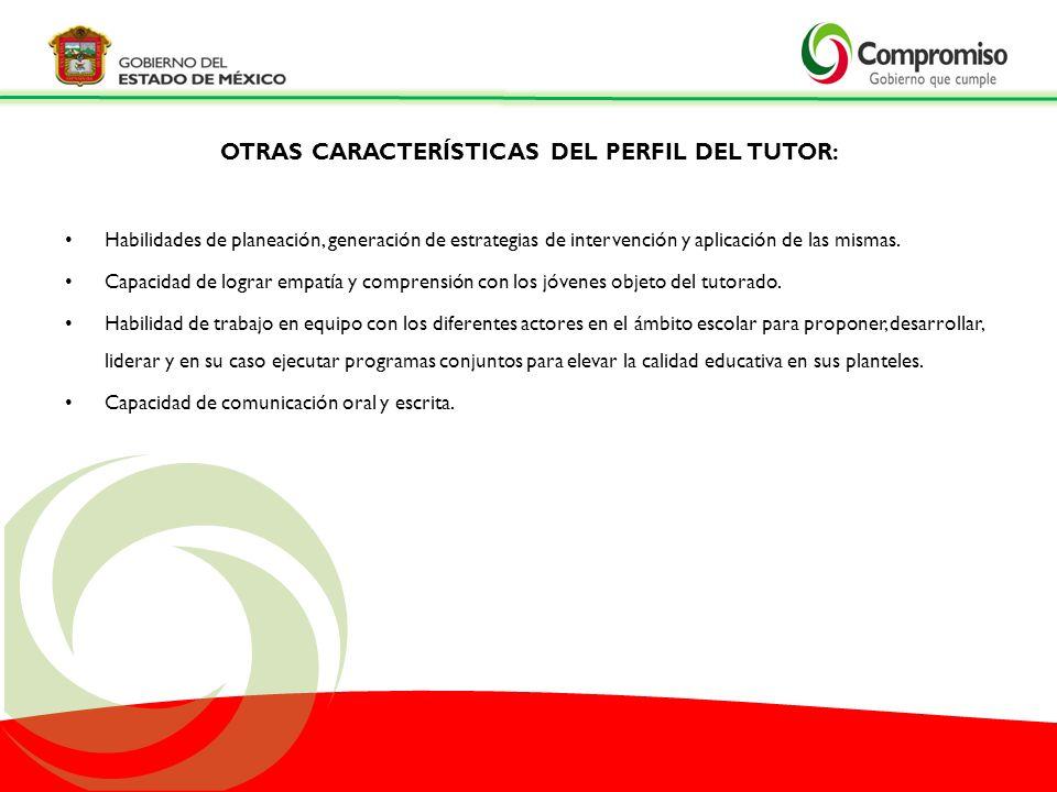 OTRAS CARACTERÍSTICAS DEL PERFIL DEL TUTOR:
