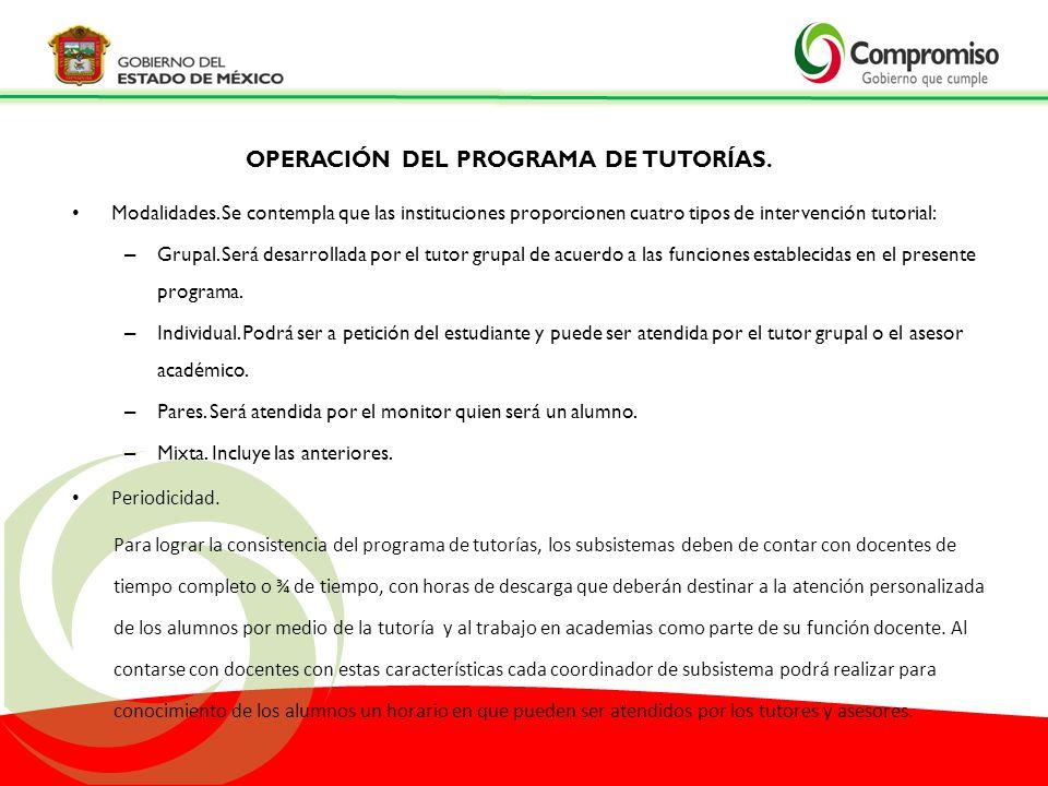 OPERACIÓN DEL PROGRAMA DE TUTORÍAS.