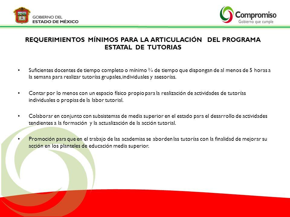 REQUERIMIENTOS MÍNIMOS PARA LA ARTICULACIÓN DEL PROGRAMA ESTATAL DE TUTORIAS