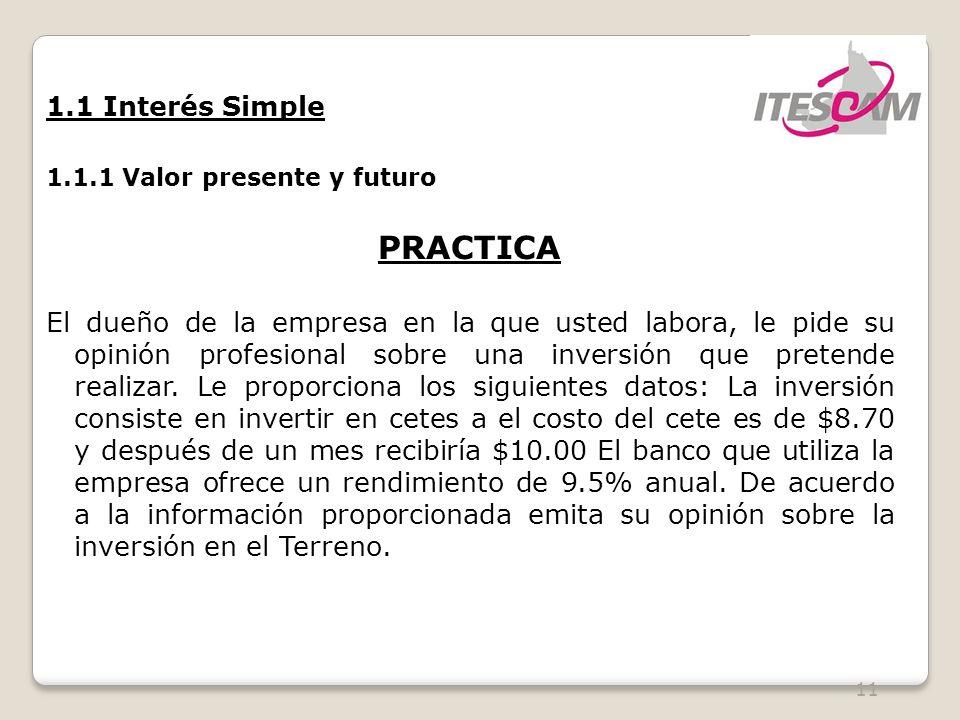 PRACTICA 1.1 Interés Simple