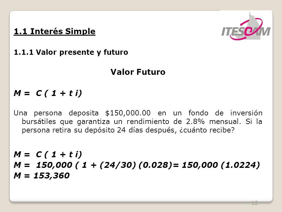 1.1 Interés Simple Valor Futuro M = C ( 1 + t i)