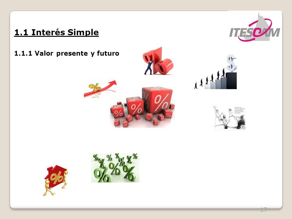 1.1 Interés Simple 1.1.1 Valor presente y futuro