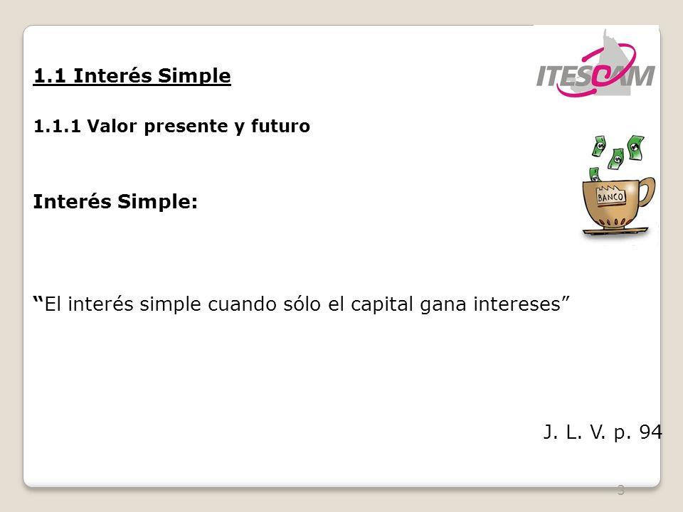 El interés simple cuando sólo el capital gana intereses