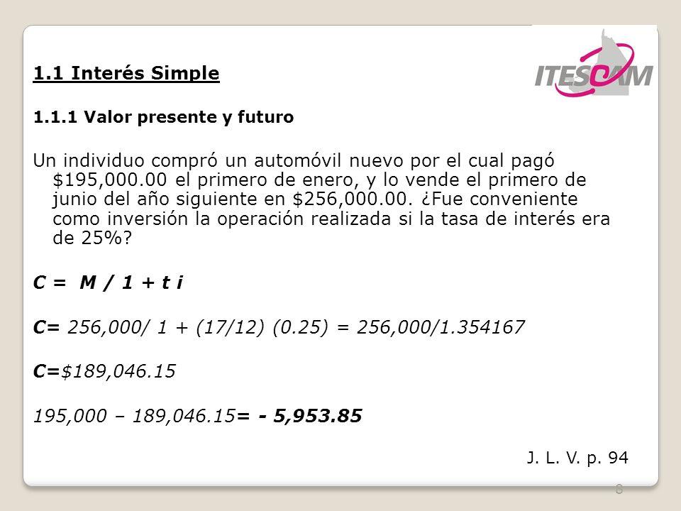 1.1 Interés Simple 1.1.1 Valor presente y futuro.