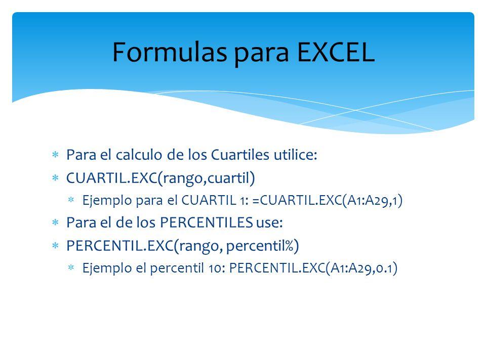 Formulas para EXCEL Para el calculo de los Cuartiles utilice: