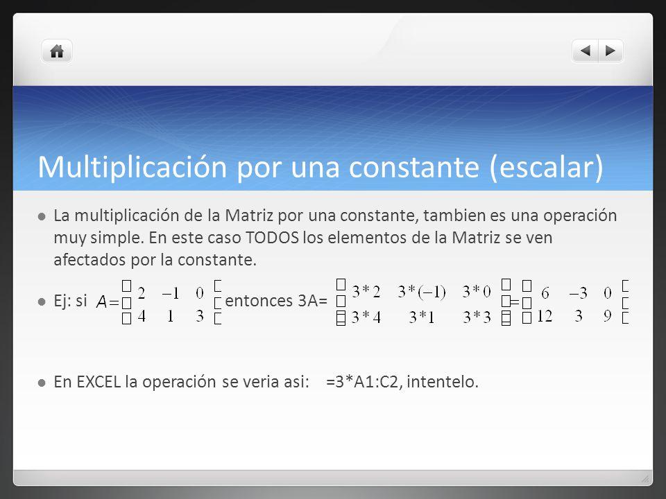Multiplicación por una constante (escalar)